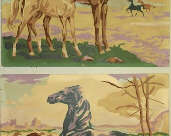 Vintage Paint by Number paintings of horses!