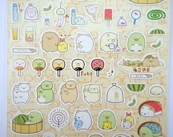 Sumikko Gurashi Japanese mochi animal stickers - kawaii bear and cat - adorable penguin and snail - tonkatsu - fans - chimes - San-X - fruit