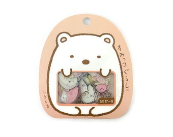 Cute stickers - Sumikko Gurashi Japanese sticker flakes - kawaii stickers - polar bear stickers - animal stickers - furoshiki Shirokuma