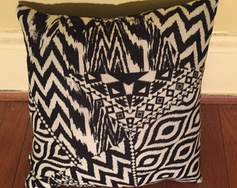 India- large hand-stitched throw pillow with authentic Indian cotton fabric-Indian throw pillow