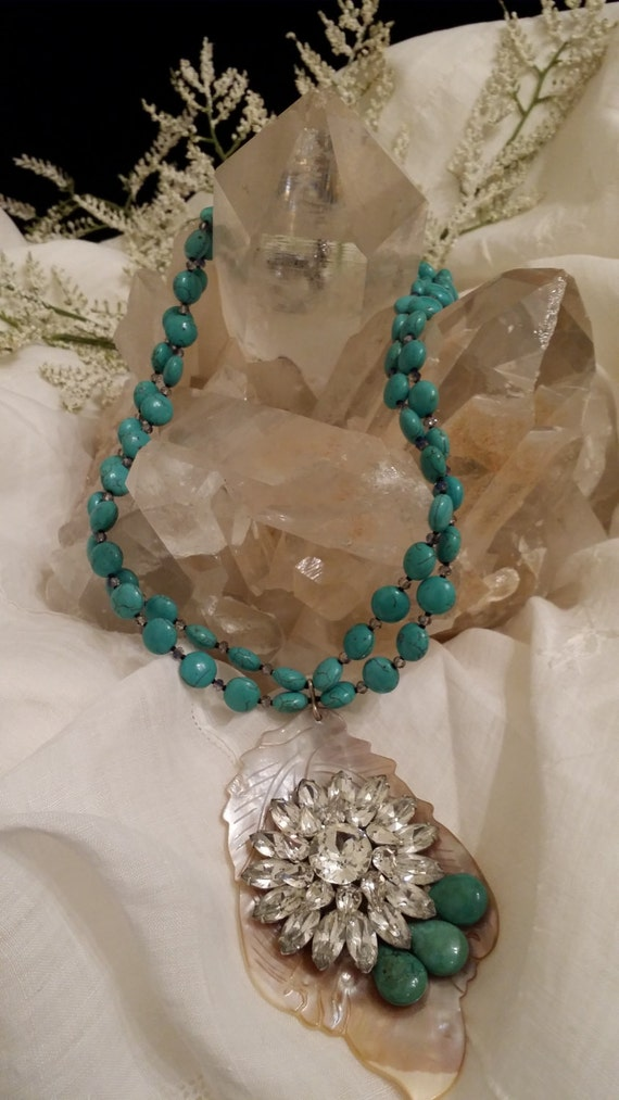 Turquoise Necklace with Vintage Brooch on Shell Pendant