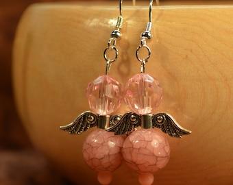 Pink Angel Dangle Earrings