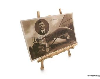 rare vintage 1927 Charles Lindbergh Spirit of St. Louis airplane aviation postcard made in France