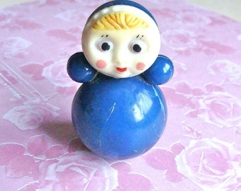 Doll Vintage Roly Poly Toy Doll Vintage Toy Nevaliashka Soviet Era Blue doll Made in USSR
