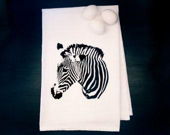Screen Printed Tea Towel, Zebra, Flour Sack Cotton, Black