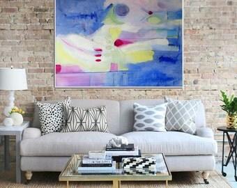 Abstract Art, giclee Print, Abstract Art print,   Modern Art ,  Original Abstract , Contemporary Painting ,  Blue Pink Yellow - Blue Moon