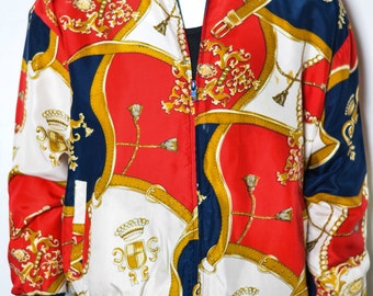 80s Red/Gold/Navy Buckles and Tassels Nylon Jacket