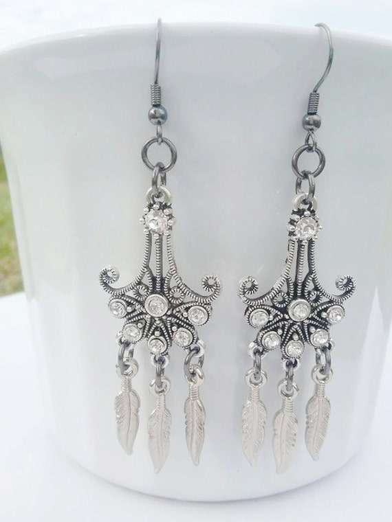 prom earrings dangle and drop silver and white by