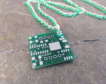 Green Upcycled Circuit Board Necklace Recycled Reclaimed Green and Silver Tone Double Chain 18""