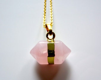 Semi Precious Prism Pink Rose Quartz Crystal Pendant on Gold Fine Chain Necklace