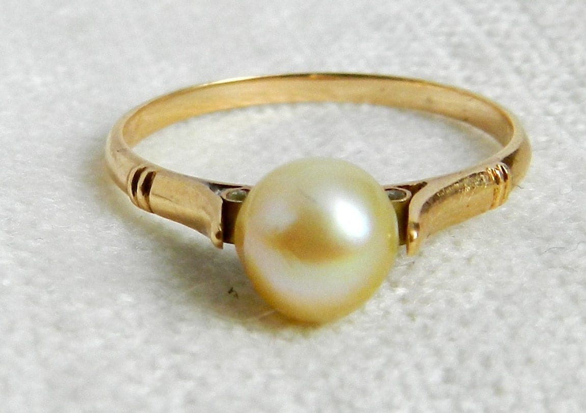 Antique Engagement Ring Victorian Pearl by DiamondSoulShop on Etsy