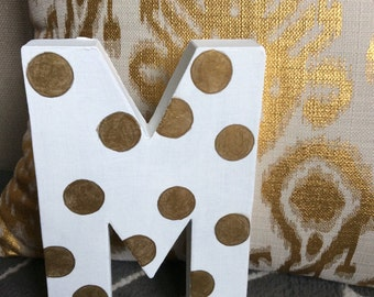 Custom Made Cardboard Letters - Hand Painted Polka Dot Letters Home Decor Wedding Decor Bridal Shower Decor