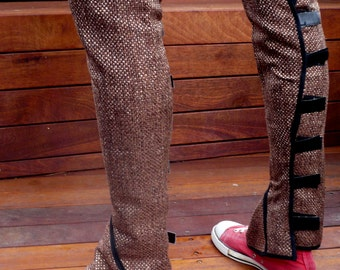 Brown Linen Leg warmers / leggings ankle to knee with velcro straps around the back