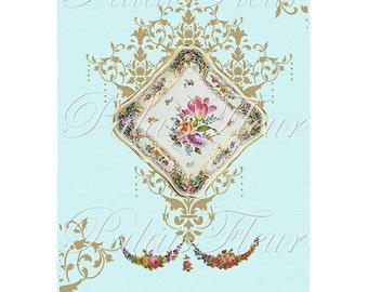 French Antique Aqua Limoges Floral Graphic Instant Download Design no.9 Vintage Wallpaper Collage Sheet Victorian Art PalaisFleurVintage