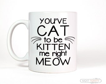 Cat Decor - You've Cat To Be Kitten Me Right Meow Coffee Mug Pet Mom Tea Cup Large Quote Mug Cat Mug Cat Lover Gift Cat Mom Funny Mug