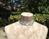 Blue Moonglow Lucite and Silver Metal Vintage Choker