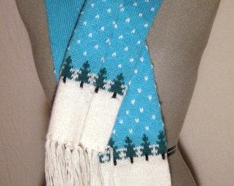 FINAL DISCOUNT Novelty Knit Winter Scarf Fringe Graphic Kitsch Blue Teal White Green Snow Trees Scenery
