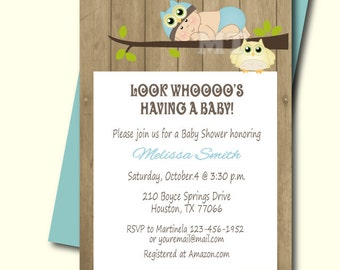 blue owl baby shower invitation owl boy baby shower invite printable babyshower invitation