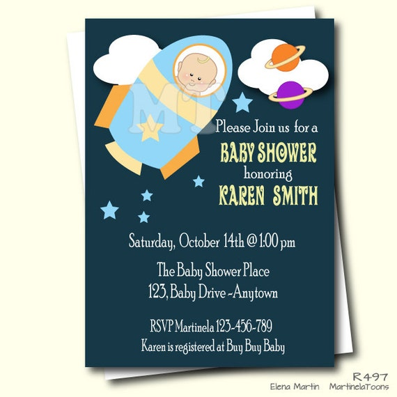 Rocket Baby Shower Invitation Outer Space Printable Baby