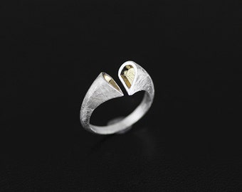 Double Heart Open Ring Sterling Silver Open Ring Gold-filled Open Ring Women Ring Gift for her