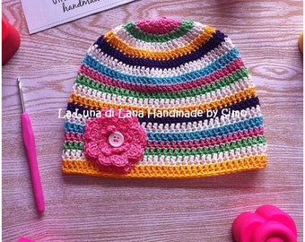 Striped cotton baby hat, made in