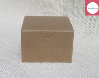 "Kraft Boxes 3x3x2"", 10 Party Favor Boxes, Small Gift Boxes, Paper Boxes, Treat Boxes."