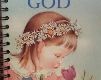 Golden Book Notebook - Eloise Wilkins The Little Golden Book About God - A5 Rebound Journal