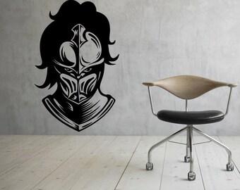 Knight Helmet Wall Decal Vinyl Stickers Warrior Armor Art Interior Bedroom Removable Home Decor (14wri)