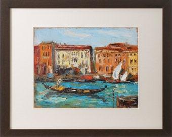 Venice artwork, Giclee art print, Oil painting print, Cityscape, Italy, Gondola, Seascape art, Colorful artwork, Modern Wall art, Home decor