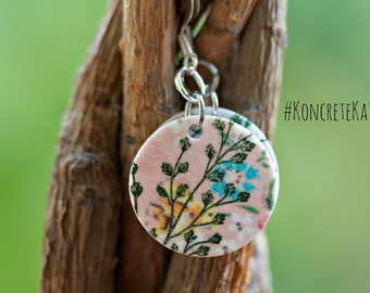 Vintage Inspired Pink Floral Print Earrings