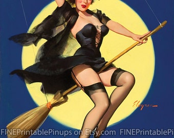 """Vintage Pinup Art Girl // Halloween Pin Up """"Halloween Honey"""" by Gil Elvgren // 32""""x41"""" Digital Download // Easy to Size Down"""