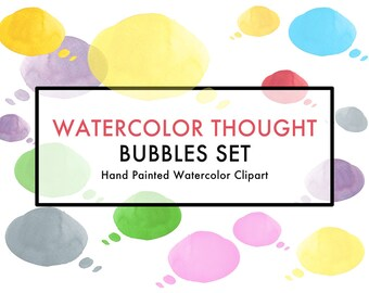 Watercolor Clip Art, Thought Speech Bubble, Hand painted. 10 colored Bubbles PNG no background, also second version with 70% transparency
