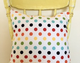 Cushion Cover - Bright Rainbow Spot Cushion Cover for Nursery, Children's Bedroom or Playroom, 40cm/16in.