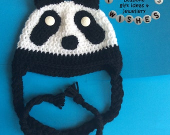 Panda Hat >> Beanie >> Braided Tassels >> Ear Flaps >> Animal Hat >> Babies >> Winter Hat >> Crocheted >> Handmade