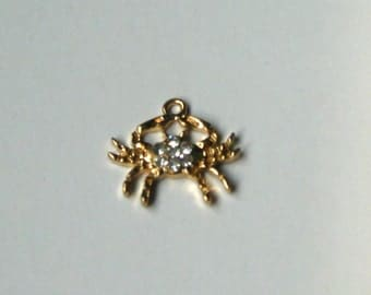 Zodiac jewelry Cancer pendant charm jewelry with cubic zirconia crystals, Cancer zodiac sign charms, DIY jewelry making