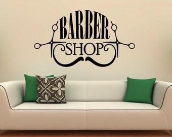 Barber Shop Wall Decal Vinyl Stickers Hairdressing Salon Interior Design Art Murals Hair Salon Decor (14b01p)