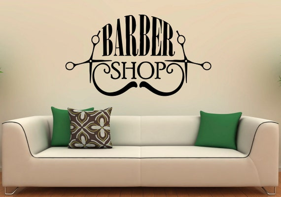 Barber shop wall decal vinyl stickers hairdressing salon for Stickers design salon