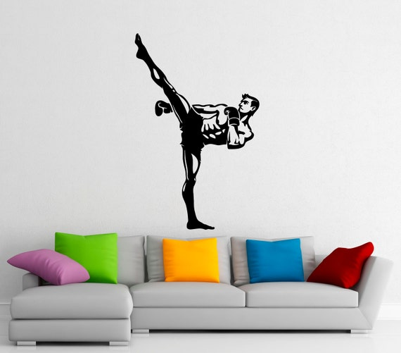 Music dandelion wall art decal wall decal wall art decal - Martial Arts Kickboxing Wall Decal Vinyl Stickers Fighting