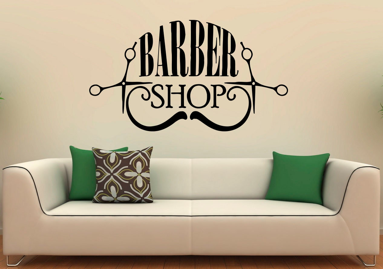 Barber shop wall decal vinyl stickers hairdressing salon for Stickers salon design