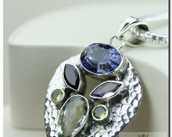 Made in Italy! Hammered Blue Mystic Topaz Prasiolite 925 SOLID Sterling Silver Pendant + 4mm Snake Chain & FREE Worldwide Shipping