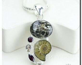 Turritella Agate Ammonite Fossil Garnet 925 SOLID Sterling Silver Pendant + 4mm Snake Chain & FREE Worldwide Shipping
