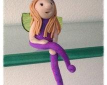 "Collectors Clay OOAK Mini Miniature Blue  Purple Marble  3"" Shelfy Fairy Guardian Angel"