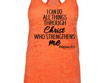 I Can Do |  Christian T Shirt  | Racerback | Women's | Workout | Gym | Crossfit | Yoga