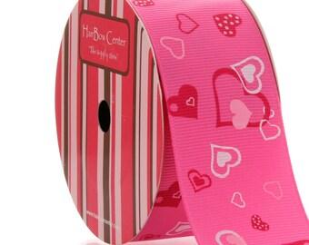 "1.5"" Hot Pink w/ Hearts Mix Grosgrain Ribbon - 5yds"