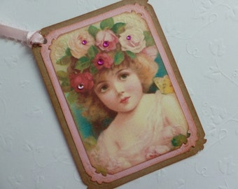 Vintage style gift tags pink pretty little girl with roses any occasion tags birthday tags vintage inspired - set of 6