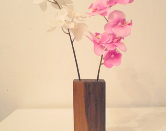 "Brooklyn Loft's ""Munchkin Vase"" walnut on concrete flower vase"