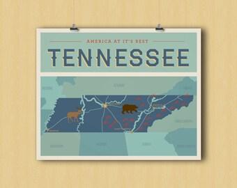 Tennessee art print, art wall decor, Tennessee poster art - graphic digital 8x10
