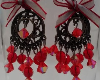 Red Crystals Earrings.
