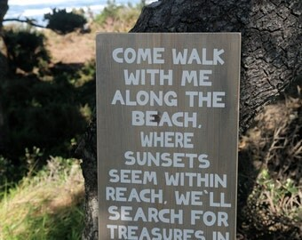 Large Wood Sign - Wood Sign - Beach Sign - Wooden Beach Sign - Beach Decor - Wooden Sign - Beach Poem - Ocean Sign - Romantic Sign - Rustic