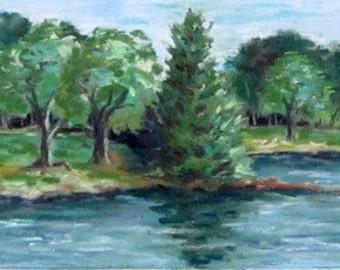 Bass Lake View, 11.5x4.5, trees, lakes, Boone, North carolina, original pastel painting